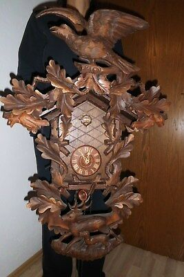 xxl vintage cuckoo clock,orig germay regula 8 day clock hand carved .about 80 cm