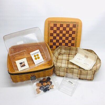 Longaberger 2001 Father's Day Game Basket Checkers Lid Liner Protector & Tag