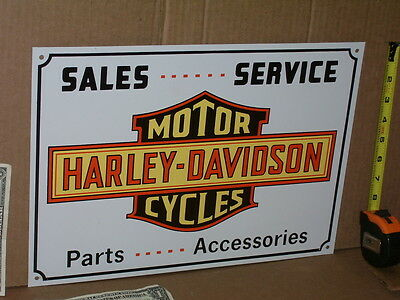 HARLEY-DAVIDSON --- Tin Sign -- LOOKS UNUSED ---- SALES SERVICE PARTS ACCESORIES