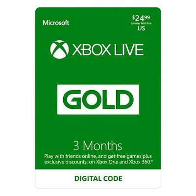 Microsoft Xbox Live Subscription 3 Month Gold Membership Card - CODE ONLY