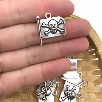 4 pcs Pirate Flag Tibet silver Charms Pendants DIY Jewellery Making crafts