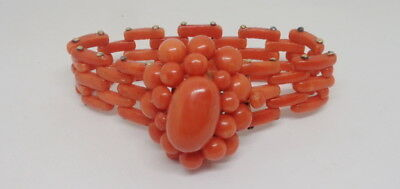 Victorian Antique Natural Coral Riveted 14K Gold Fantastic Bracelet Very Small