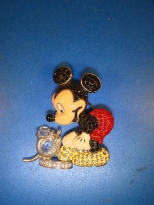 2005 Swarovski Crystal Disney It All Started With A Mouse Mickey  Brooch Pin