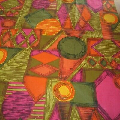 73cm x 94cm Orange Pink Jewelled Abstract Vintage Cotton Fabric 1960s Sewing