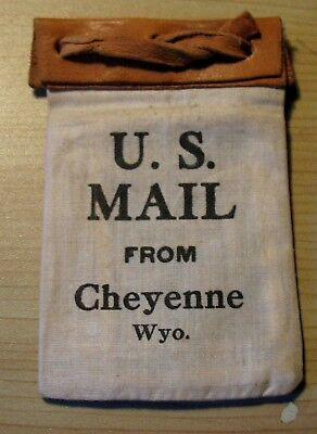 1920's Cheyenne WY Souvenir Canvas U.S. Mail Pouch + 4 photos of Cheyenne