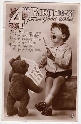 VINTAGE RP POSTCARD4th BIRTHDAY LOVELY TEDDY BEAR LITTLE BOY SINGING1936