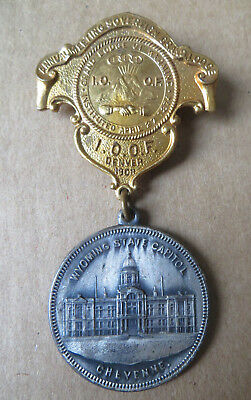 1908 Odd Fellows Convention Denver Pin-Grand Lodge Of Wyoming