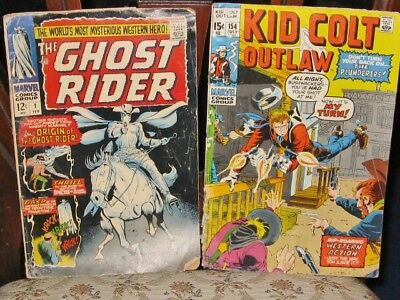 GHOST RIDER #1 ..1967  and KID COLT OUTLAW #154  1971