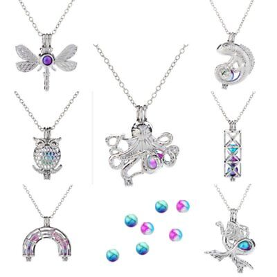 Colorful Beads Owl Dragonfly Animal Necklace Pendant Clavicle Chain Girl Gift