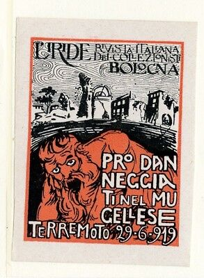 Italy Poster Stamp 1919 Bologna Pro Danneggia IMPERF MNH