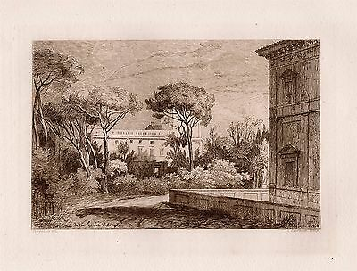 """Awesome 1800s Claude LORRAIN Antique Etching """"Ruins of the Lost City"""" SIGNED COA"""