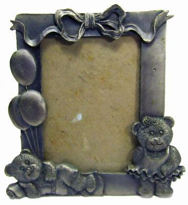 "Twin Teddy Bear Photo Frame Pewter Style Freestanding 3¼"" x 2½"""