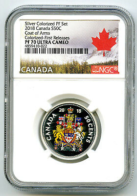 2018 Canada 50 Cent Silver Colored Proof Ngc Pf70 Uc Coat Of Arms Half Dollar Fr