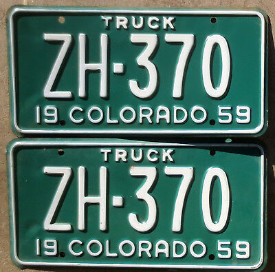 1959 Colorado License Plate Number Tag PAIR Plates - Truck