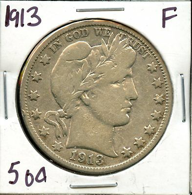 1913 United States Barber Head Silver Half Dollar 50c Coin JM354