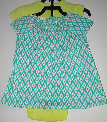 Nwt Carters Girls Size 6M. Green-Yellow-White 3-Pc. Diaper Cover Set