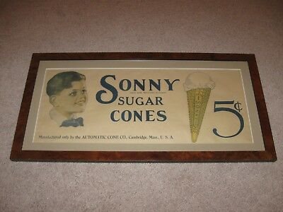 Vintage Ice Cream SONNY SUGAR CONES Advertising Sign Framed/Matted Extra Nice!