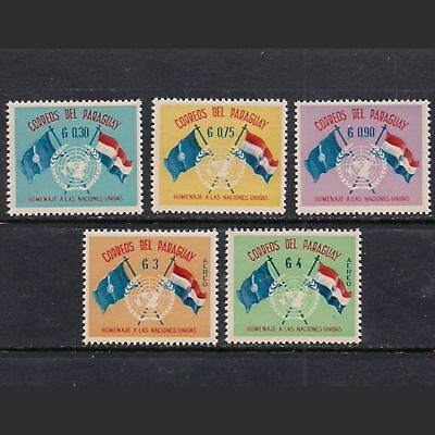 """PARAGUAY: lot of five """"Tribute to United Nations"""" / FLAG stamps -- MNH --"""
