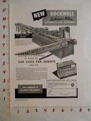 1950 Rockwell Packaging Machines Beer Trade AD NY Drewrys Brewery South Bend IN