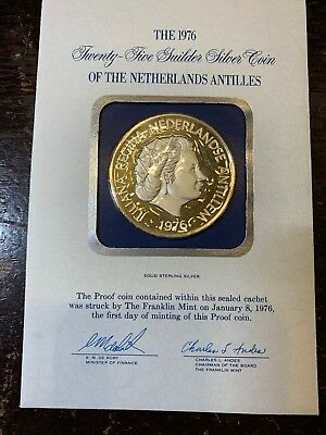 1976 25G Guilder .925 Silver Proof Coin Of The Netherland Antilles
