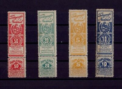 Uruguay Telegraph Stamps Yvert 1-4  very RR news bur spots and defects see photo