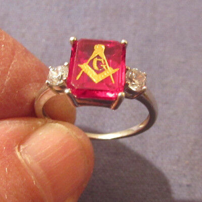 Antique Vintage Masonic Eastern Star Ladies Ring Sterling Size 7