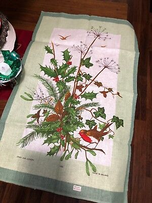 Christmas Holly Bird Kitchen Dish Towel Made in IRELAND Cotton/ Linen