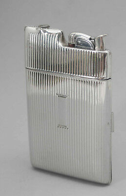 Vintage Chrome Art Deco Evans Cigarette Lighter Case Stainless Steel 1940's