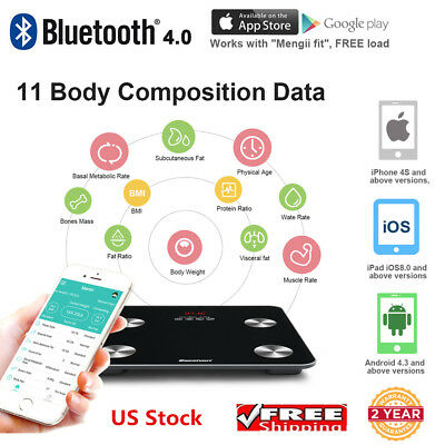 EXCELVAN Digital Bluetooth Body Fat Scale w/ App 11 Body Measures High Precision
