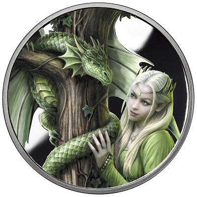 5 Oz Silver Coin Anne Stokes Dragons Colorized Kindred Spirits 2Nd In Series Coa