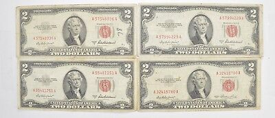 Lot (4) Red Seal $2.00 US 1953 or 1963 Notes - Currency Collection *477