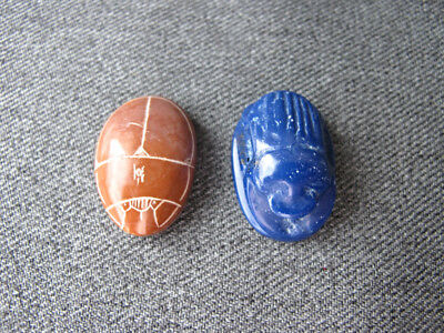 Vintage egyptian revival carved brown stone & blue scarab cabochons jewelry make