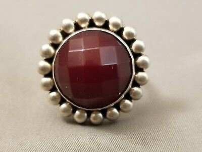 Navajo ARTIE YELLOWHORSE Faceted Garnet and Sterling Silver Ring Sz 7.5