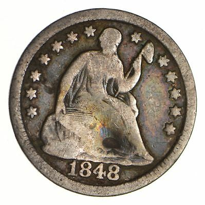 5c ***1/2 Dime** - 1848 Seated Liberty Half Dime - Early American Type Coin *950
