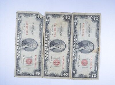 Lot (3) Red Seal $2.00 US 1953 or 1963 Notes - Currency Collection *099