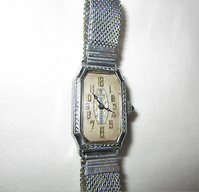 Ladies Antique Art Deco Watch Bedford Silver Metal Mesh Band 6 Jewels Swiss VTG