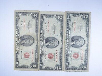 Lot (3) Red Seal $2.00 US 1953 or 1963 Notes - Currency Collection *096