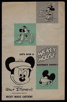 Mickey Mouse Birthday Party Bklt-Walt Disney Prod.-Weather Bird Shoes-'50's-G/vg