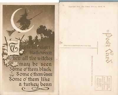 ANTIQUE HALLOWEEN POSTCARD - WITCH FLIES ON BROOM w/ MOON BY GIBSON ART CO.