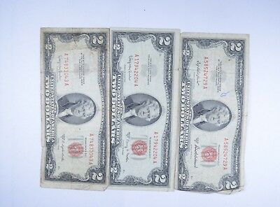 Lot (3) Red Seal $2.00 US 1953 or 1963 Notes - Currency Collection *095
