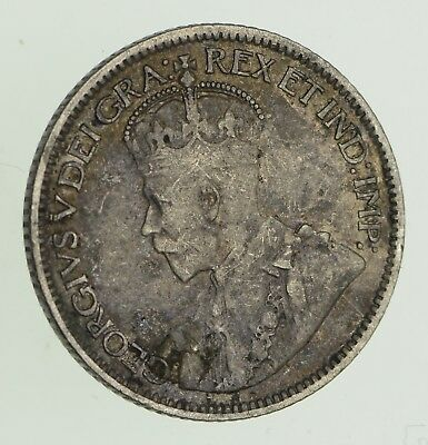 Roughly Size of Dime - 1913 Canada 10 Cents - World Silver Coin *791
