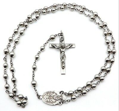 Vintage CREED Sterling Silver Religious Rosary Beads Necklace