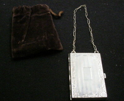 Antique Victorian Sterling Silver Compact Coin Case with Chain In Velvet Pouch