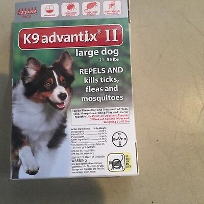 K9 Advantix Ii Flea And Tick Control For Dogs 21-55 Lbs - 6 Pack New In Box- Usa