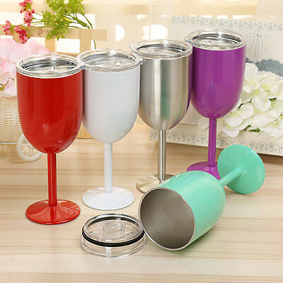 10oz 304 Stainless Steel Wine Glass Double Wall Insulated Metal Goblet With Lid