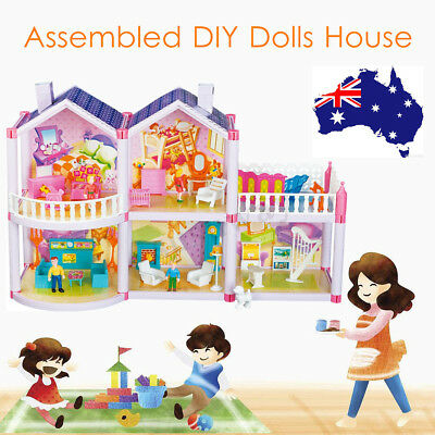 Plastic Doll House Girls Pretend Play Furniture 2 Level Assembled Dollhouse Toy
