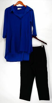 Women with Control Set Sz M Crepe Jersey Tunic & Crop Leggings Blue A290083