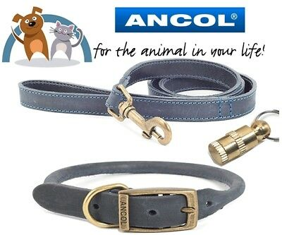 Ancol Timberwolf Real Leather Dog Collar & Lead Set + ID Tag Size 28-36cm Blue