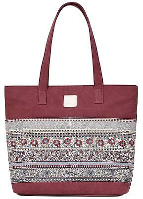 Women Girl Large Canvas Tote Shoulder Hand Shopping Bag Vintage With Zipper #01