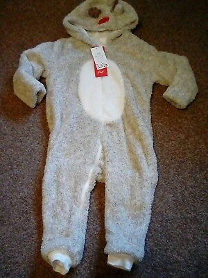 Fleece All In One Reindeer Outfit 12/18Months Bnwt